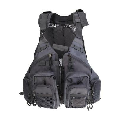 Fishing Chest Mesh Vest Floating Backpack Multi-pocket Adjustable Size Gray