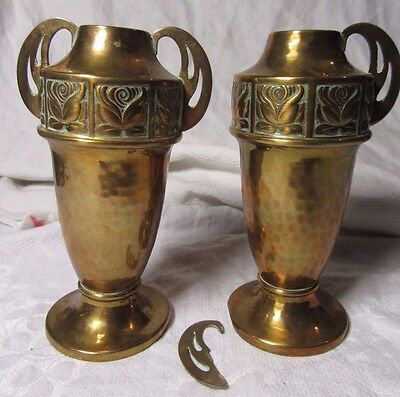 Antique Pair of WMF Art Nouveau Jugendstil Hammered Copper Bud Vase