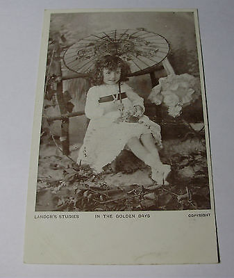 "K255 - c1905 YOUNG GIRL With PARASOL Edwardian POSTCARD ""Golden Days"""
