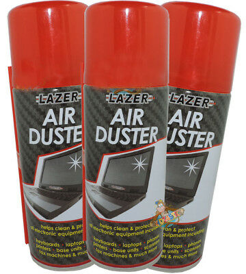 3 x 600ml Compressed Air Duster Spray Can Cleans Protects Laptops Keyboards