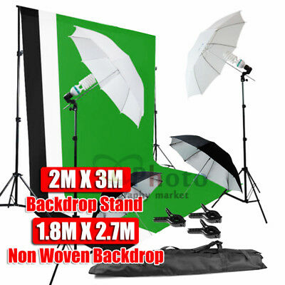 270W Photo Umbrella Lighting Black White Green Screen Backdrop Light Stand Kit
