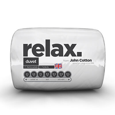 John Cotton Relax Machine Washable Duvet - 13.5 Tog - Single, Double, King