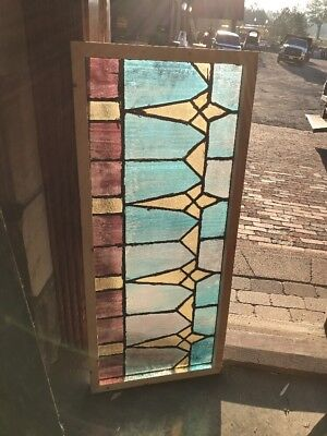 "Sg 1558 Antique Deco Design Transom Window 18"" X 41.75"