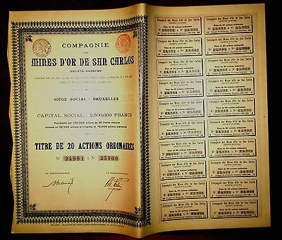 Mines d´Or de San Carlos,Antioquia Colombia share certificate 1903  Gold mining