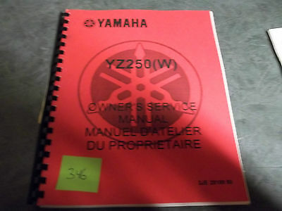 Yamaha dealer service manual YZ250 W printed 1988