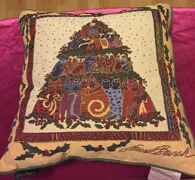 """Laurel Burch Pillow Christmas Holly Cat Tapestry Large 16"""" x 16"""" 2006 Macy's"""