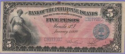 Philippines 5 Pesos Banknote,1.1.1920,Choice Very Good Condition,Cat#13-7700