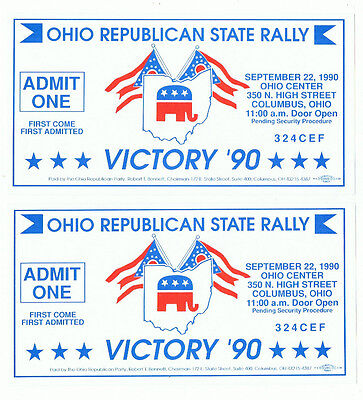 1990 Ohio Republican State Rally Ticket Lot Political Dan Quayle GOP Advertising