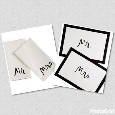 Kate Spade New York Mrs Placemat Mr & Mrs Napkins White Black NWT T4