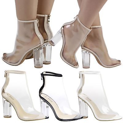 Aisha Womens High Block Heel Clear Perspex Peep Toe Ankle Boots Ladies Shoes New