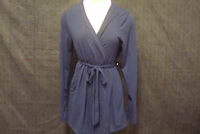 Bump In The Night Womens Blue Robe Open Front Nursing Tie Closure Long Sleeve