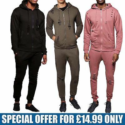 Mens Zip Up Jogging Hoodie Top Gym Bottms Hooded Ripped Full Tracksuit Set S-XL
