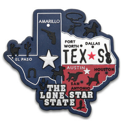 Texas Map The Lone Star State Rubber Magnet Souvenir America Travel Refrigerator