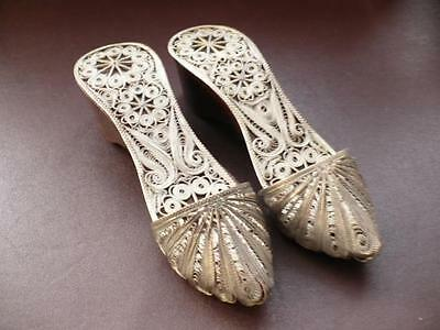 Vintage Decorative Mules/Shoes With Silver Filigree Decoration