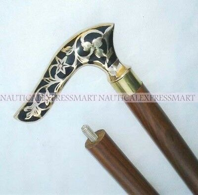 Vintage Designer Brass Handle Antique Style Victorian Cane Wooden Walking Stick