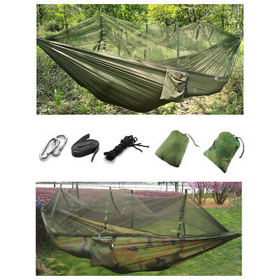 Double Person Travel Outdoor Camping Tent Hanging Hammock Bed & Mosquito Ne D2P6