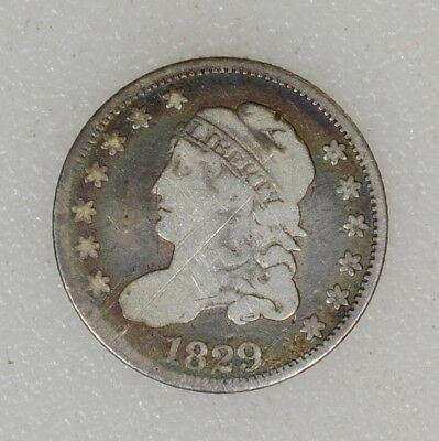 1829 VG Cond Capped Bust Half Dime Nice Color & Strike Obv Scratch - I-9290 F