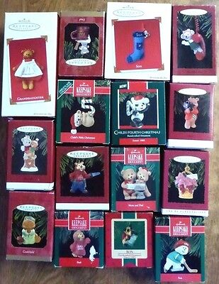 Lot of 15 HALLMARK Keepsake Ornaments in Boxes  New & Used Christmas #16 Family