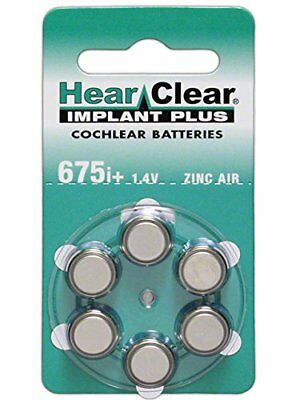 60 Hearclear Cochlear Implant Batteries Size: 675P Cochlear Implant