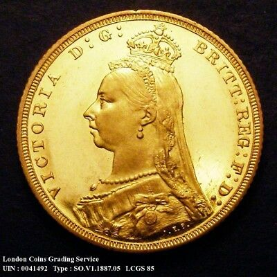 Great Britain 1887 Queen Victoria Proof Gold Sovereign CGS 85 (PCGS MS 65)
