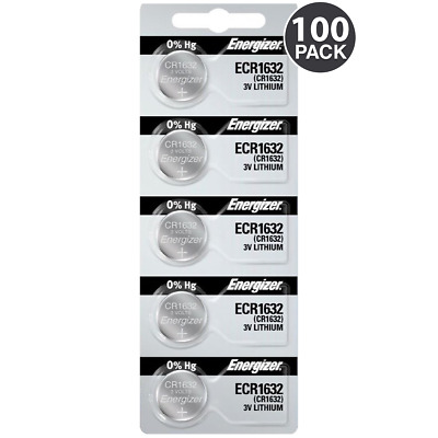 Energizer CR1632 Lithium 3V Coin Cell Battery (100 Count) + Tracking