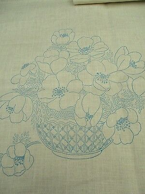 VINTAGE Pair of TRANSFER PRINTED LINEN for chair backs/cushion covers
