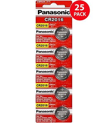Panasonic CR2016 3 Volt Lithium Coin Battery 25 Pack - Tracking Included!