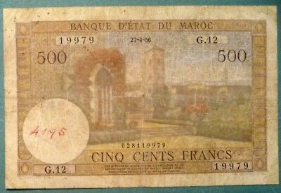 Morocco 500 Dirhams   Note , P 46,  Issued 27.04. 1956