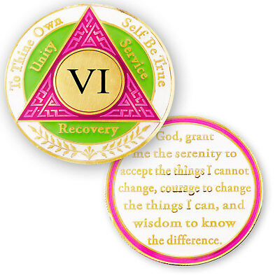 AA coin 6 year, Pink Green White, anniversary recovery alcoholics anonymous