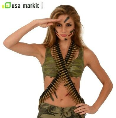 Girl Military Costume 60 Army Bandolier Bullet Belt,For Halloween Cosplay Party