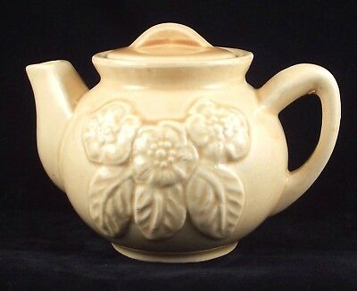 Brush McCoy Pottery embossed flower individual size teapot USA 3F