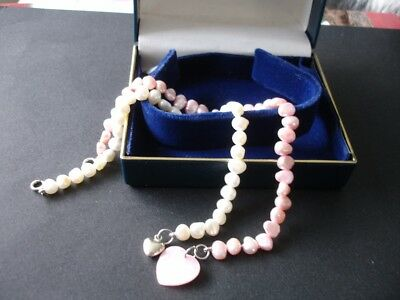 Cultured Pearl Bracelets x 2 in Pink & White 925 Silver Clasps