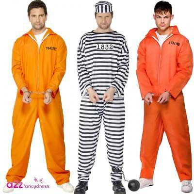 Mens Prisoner Convict Costume Overall Jumpsuit Halloween Stag Party Fancy Dress