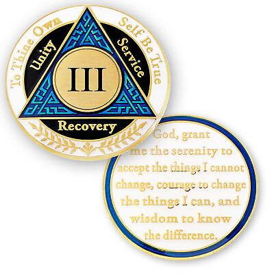 AA coin 3 year, Blue Black White, anniversary recovery alcoholics anonymous