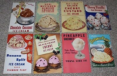 Lot of 8 Vintage Original Ice Cream Parlor Flavor Old Diner Posters Banana Split