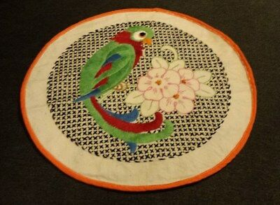 Parrot Crewel Unframed Finished Vintage with trim embroidery