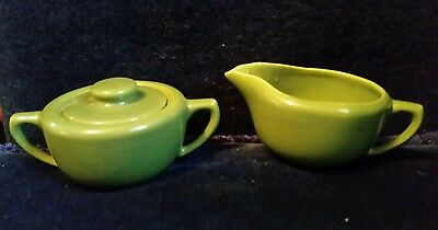 RARE! Bauer Monterey Moderne - OLIVE Creamer and Covered Sugar Bowl