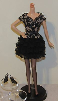 Trace of Lace Silkstone Barbie Black Dress Fashion Outfit Ensemble Only No Doll