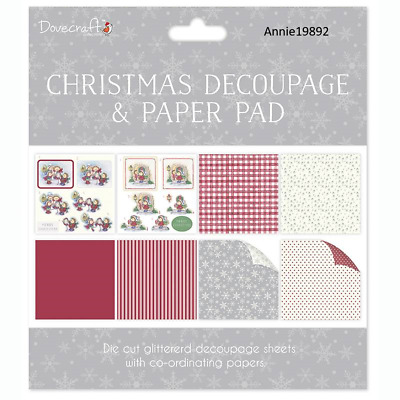 Dovecraft Christmas FSC 8 x 8 Decoupage and Paper Pad - Cute Hedgehogs