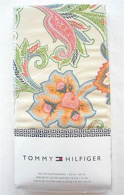 4 Tommy Hilfiger Spring Floral Paisley Cloth Dinner Table Cotton Napkin Set