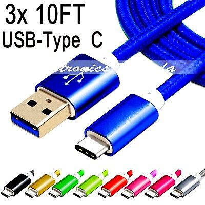 Lot 3x 10FT Nylon Braided Rope USB-C Type-C 3.1 Data Sync Charger Charging Cable