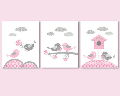Set of 3 prints for baby girl, nursery wall art - birds family, pink and grey