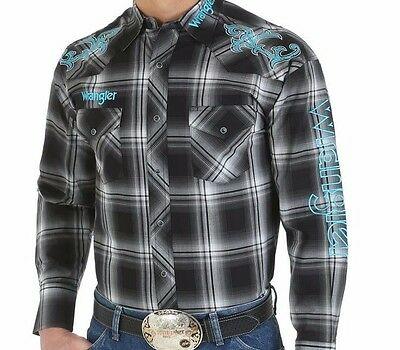 WRANGLER LOGO Gray Black Plaid Snap RODEO WESTERN L/Sleeve Snap SHIRT~ 2XL