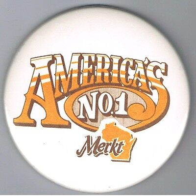 "Merkts Wisconsin Cheddar Cheese Spread  3"" Advertising Pinback Button Food Dairy"