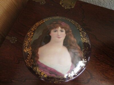 Antq. Victorian Porcelain Dresser/Trinket  box with Brown/ Gold Woman Picture