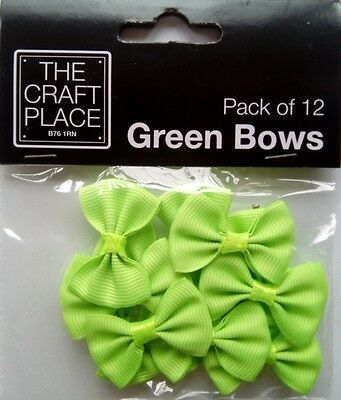 The Craft Place ~ NEON GREEN BOWS (Pack of 12)