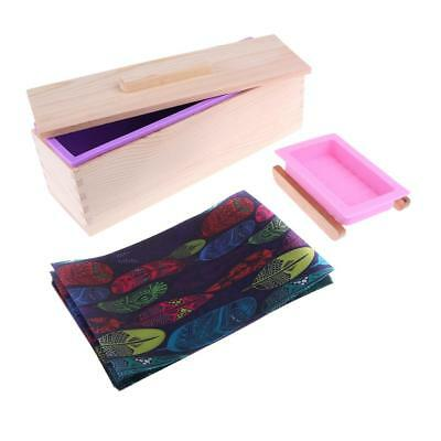 Rectangle Silicone Soap Loaf Mold Wood Box Making Tool& Tray Stand Oil Paper
