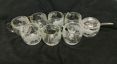 Nestle Vintage World Globe Etched Glass Lot of 6 Coffee Cups+Creamer Sugar Bowl