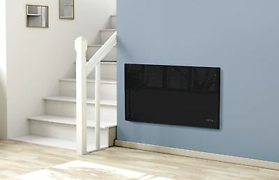 2000W Electric Glass Panel Convector Heater Radiator Wall Mounted - Black