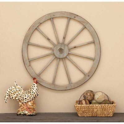 Rustic Antique Country Farmhouse Wood Metal Wagon Wheel Vintage Wall Art  Decor